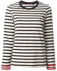 weißes und schwarzes horizontal gestreiftes Langarmshirt von See by Chloe