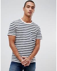 weißes und schwarzes horizontal gestreiftes T-Shirt mit einem Rundhalsausschnitt von Abercrombie & Fitch