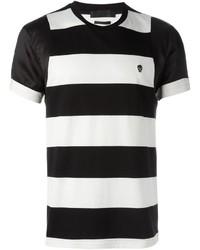 weißes und schwarzes horizontal gestreiftes T-Shirt mit einem Rundhalsausschnitt von Alexander McQueen