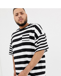 weißes und schwarzes horizontal gestreiftes T-Shirt mit einem Rundhalsausschnitt von ASOS DESIGN