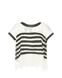 weißes und schwarzes horizontal gestreiftes T-Shirt mit einem Rundhalsausschnitt von Edward Achour Paris