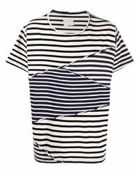 weißes und schwarzes horizontal gestreiftes T-Shirt mit einem Rundhalsausschnitt von Greg Lauren