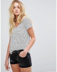weißes und schwarzes horizontal gestreiftes T-Shirt mit einem Rundhalsausschnitt von Hollister