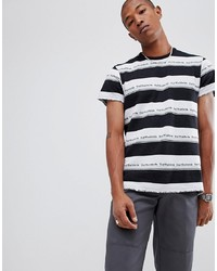 weißes und schwarzes horizontal gestreiftes T-Shirt mit einem Rundhalsausschnitt von HUF