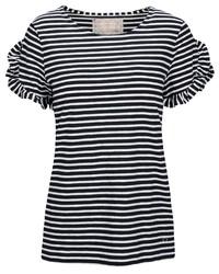 weißes und schwarzes horizontal gestreiftes T-Shirt mit einem Rundhalsausschnitt von IN LINEA