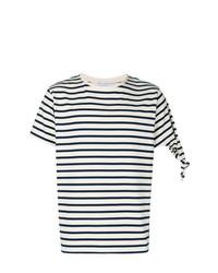 weißes und schwarzes horizontal gestreiftes T-Shirt mit einem Rundhalsausschnitt von JW Anderson