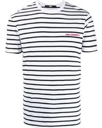 weißes und schwarzes horizontal gestreiftes T-Shirt mit einem Rundhalsausschnitt von Karl Lagerfeld