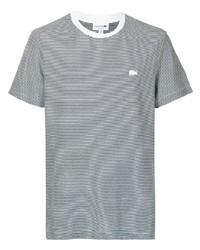 weißes und schwarzes horizontal gestreiftes T-Shirt mit einem Rundhalsausschnitt von Lacoste