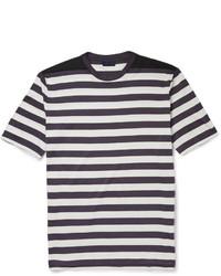 weißes und schwarzes horizontal gestreiftes T-Shirt mit einem Rundhalsausschnitt von Lanvin