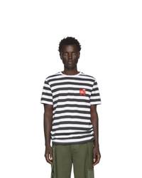 weißes und schwarzes horizontal gestreiftes T-Shirt mit einem Rundhalsausschnitt von Loewe