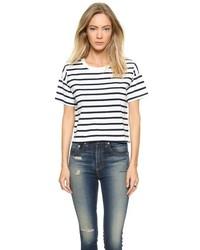 weißes und schwarzes horizontal gestreiftes T-Shirt mit einem Rundhalsausschnitt von Madewell