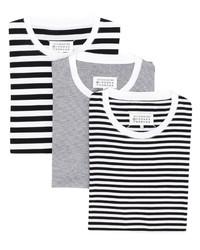 weißes und schwarzes horizontal gestreiftes T-Shirt mit einem Rundhalsausschnitt von Maison Margiela