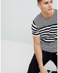 weißes und schwarzes horizontal gestreiftes T-Shirt mit einem Rundhalsausschnitt von Mango