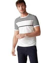 weißes und schwarzes horizontal gestreiftes T-Shirt mit einem Rundhalsausschnitt von Marc O'Polo