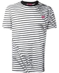weißes und schwarzes horizontal gestreiftes T-Shirt mit einem Rundhalsausschnitt von McQ