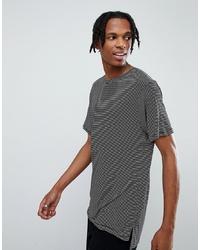 weißes und schwarzes horizontal gestreiftes T-Shirt mit einem Rundhalsausschnitt von Mennace