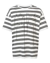 weißes und schwarzes horizontal gestreiftes T-Shirt mit einem Rundhalsausschnitt von Mostly Heard Rarely Seen
