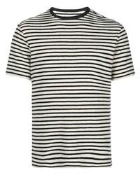 weißes und schwarzes horizontal gestreiftes T-Shirt mit einem Rundhalsausschnitt von Officine Generale