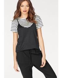 weißes und schwarzes horizontal gestreiftes T-Shirt mit einem Rundhalsausschnitt von Only