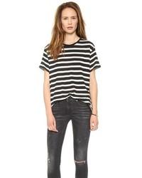 weißes und schwarzes horizontal gestreiftes T-Shirt mit einem Rundhalsausschnitt von R 13
