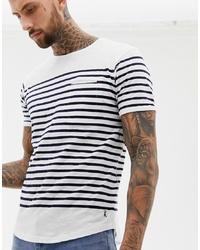 weißes und schwarzes horizontal gestreiftes T-Shirt mit einem Rundhalsausschnitt von Ringspun