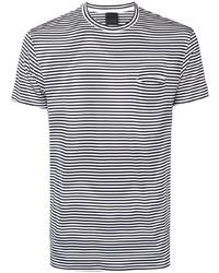 weißes und schwarzes horizontal gestreiftes T-Shirt mit einem Rundhalsausschnitt von Rrd
