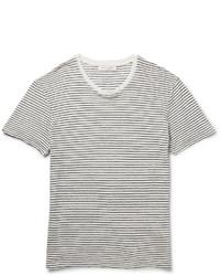weißes und schwarzes horizontal gestreiftes T-Shirt mit einem Rundhalsausschnitt von Sandro