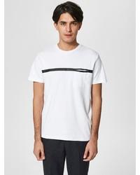 weißes und schwarzes horizontal gestreiftes T-Shirt mit einem Rundhalsausschnitt von Selected Homme