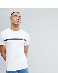 weißes und schwarzes horizontal gestreiftes T-Shirt mit einem Rundhalsausschnitt von Selected
