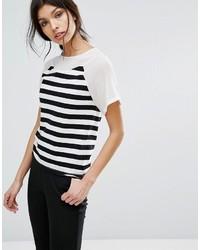 weißes und schwarzes horizontal gestreiftes T-Shirt mit einem Rundhalsausschnitt von Sisley