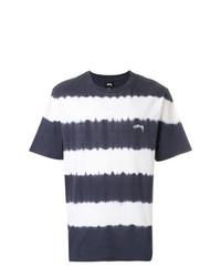 weißes und schwarzes horizontal gestreiftes T-Shirt mit einem Rundhalsausschnitt von Stussy