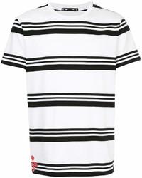 weißes und schwarzes horizontal gestreiftes T-Shirt mit einem Rundhalsausschnitt von The Upside