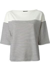 weißes und schwarzes horizontal gestreiftes T-Shirt mit einem Rundhalsausschnitt von Theory