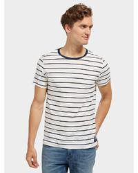 weißes und schwarzes horizontal gestreiftes T-Shirt mit einem Rundhalsausschnitt von Tom Tailor Denim