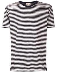 weißes und schwarzes horizontal gestreiftes T-Shirt mit Rundhalsausschnitt