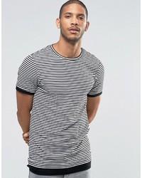 Weißes und schwarzes horizontal gestreiftes T-Shirt mit Rundhalsausschnitt von Asos