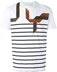 weißes und schwarzes horizontal gestreiftes T-Shirt mit einem Rundhalsausschnitt von Neil Barrett