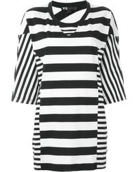 weißes und schwarzes horizontal gestreiftes T-Shirt mit einem Rundhalsausschnitt von Y-3