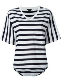 weißes und schwarzes horizontal gestreiftes T-Shirt mit V-Ausschnitt