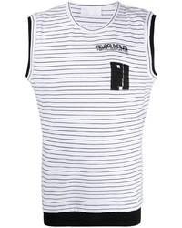 weißes und schwarzes horizontal gestreiftes Trägershirt von Neil Barrett