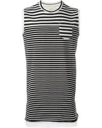 weißes und schwarzes horizontal gestreiftes Trägershirt