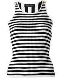 weißes und schwarzes horizontal gestreiftes Trägershirt von Versace