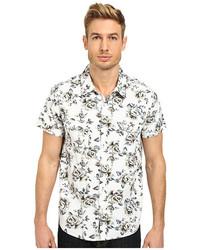 weißes und schwarzes Kurzarmhemd mit Blumenmuster