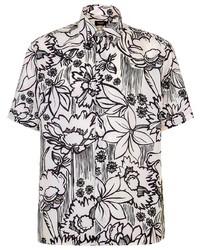 weißes und schwarzes Kurzarmhemd mit Blumenmuster von Fendi
