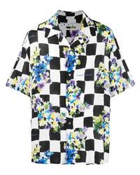 weißes und schwarzes Kurzarmhemd mit Karomuster von Off-White