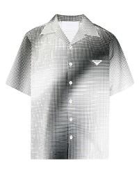 weißes und schwarzes Kurzarmhemd mit Karomuster von Prada