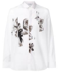 weißes und schwarzes Langarmhemd mit Blumenmuster