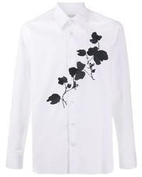weißes und schwarzes Langarmhemd mit Blumenmuster von Alexander McQueen