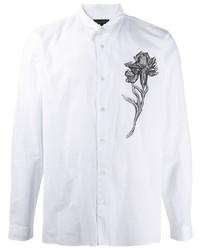 weißes und schwarzes Langarmhemd mit Blumenmuster von Ann Demeulemeester