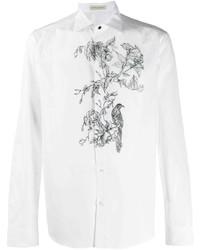 weißes und schwarzes Langarmhemd mit Blumenmuster von Etro